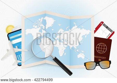 Travel Destination Peru, Tourism Mockup With Travel Equipment And World Map With Magnifying Glass On