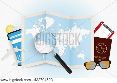 Travel Destination Guyana, Tourism Mockup With Travel Equipment And World Map With Magnifying Glass