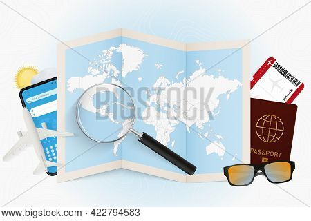 Travel Destination El Salvador, Tourism Mockup With Travel Equipment And World Map With Magnifying G