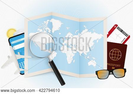 Travel Destination Mexico, Tourism Mockup With Travel Equipment And World Map With Magnifying Glass