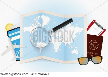Travel Destination Dominican Republic, Tourism Mockup With Travel Equipment And World Map With Magni