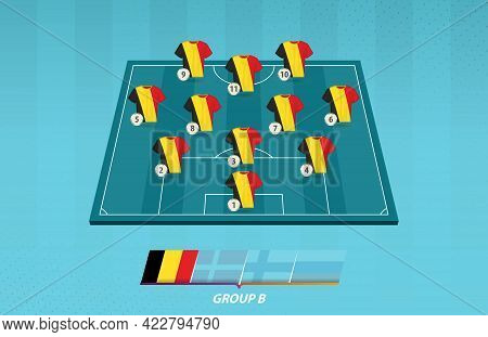 Football Field With Belgium Team Lineup For European Competition. Soccer Players On Half Football Fi