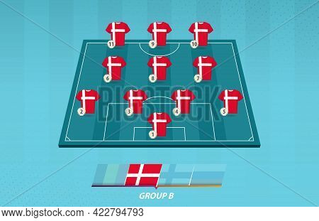 Football Field With Denmark Team Lineup For European Competition. Soccer Players On Half Football Fi