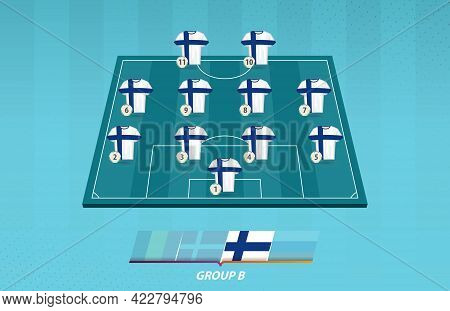 Football Field With Finland Team Lineup For European Competition. Soccer Players On Half Football Fi