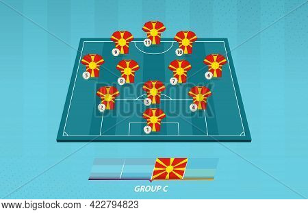 Football Field With Macedonia Team Lineup For European Competition. Soccer Players On Half Football