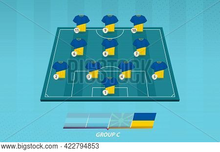 Football Field With Ukraine Team Lineup For European Competition. Soccer Players On Half Football Fi