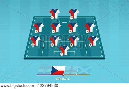 Football Field With Czech Republic Team Lineup For European Competition. Soccer Players On Half Foot