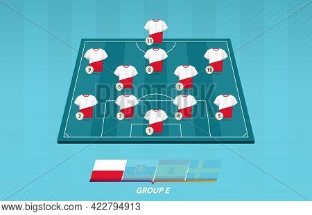 Football Field With Poland Team Lineup For European Competition. Soccer Players On Half Football Fie