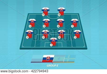 Football Field With Slovakia Team Lineup For European Competition. Soccer Players On Half Football F