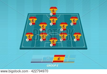 Football Field With Spain Team Lineup For European Competition. Soccer Players On Half Football Fiel