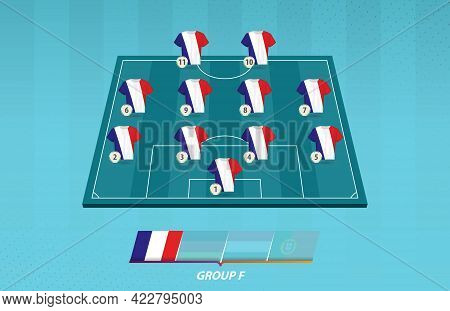 Football Field With France Team Lineup For European Competition. Soccer Players On Half Football Fie