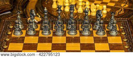 Yerevan,armenia - April 20, 2019:original Souvenir Metal Chess Set In A Local Shop In Yerevan, Armen