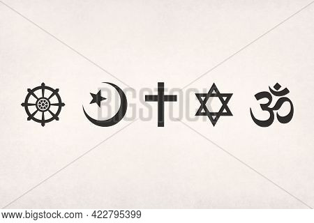 The Main Religious Symbols (buddhism, Islam, Christianity, Judaism And Hinduism) Printed On Paper.
