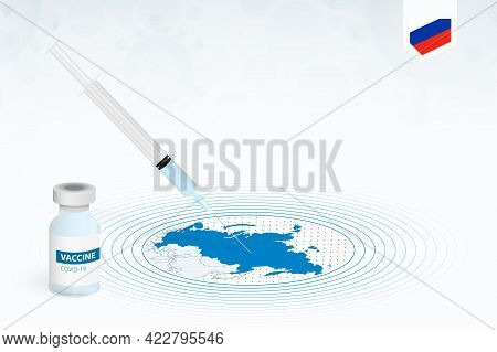 Covid-19 Vaccination In Russia, Coronavirus Vaccination Illustration With Vaccine Bottle And Syringe