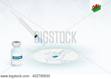 Covid-19 Vaccination In Wales, Coronavirus Vaccination Illustration With Vaccine Bottle And Syringe
