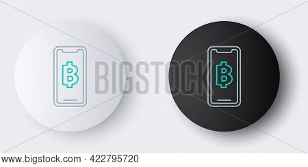 Line Phone Mobile And Cryptocurrency Coin Bitcoin Icon Isolated On Grey Background. Physical Bit Coi