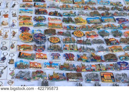 Barcelona, Spain - September 28th 2019: Colorful Fridge Magnets Sold By A Vendor On The Street In Ba