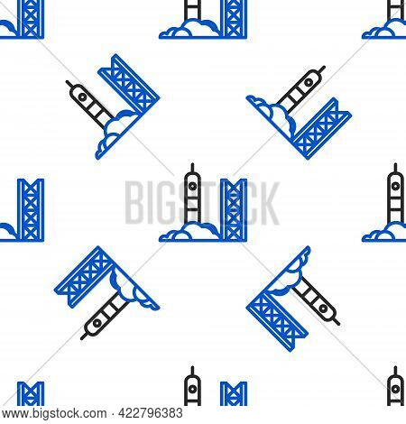 Line Rocket Launch From The Spaceport Icon Isolated Seamless Pattern On White Background. Launch Roc