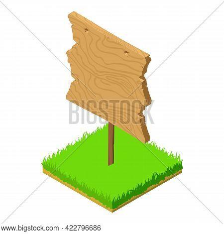 Wood Roadsign Icon. Isometric Illustration Of Wood Roadsign Vector Icon For Web