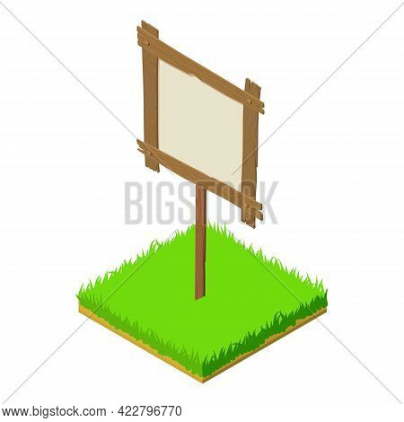 Wooden Billboard Icon. Isometric Illustration Of Wooden Billboard Vector Icon For Web