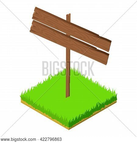 Blank Signpost Icon. Isometric Illustration Of Blank Signpost Vector Icon For Web