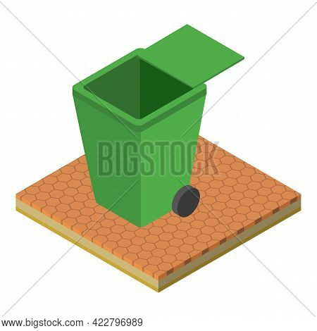Garbage Container Icon. Isometric Illustration Of Garbage Container Vector Icon For Web