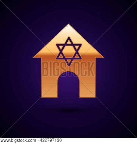 Gold Jewish Synagogue Building Or Jewish Temple Icon Isolated On Black Background. Hebrew Or Judaism