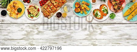 Summer Bbq Grill Top Border Over A White Wood Banner Background. Chicken And Shrimp Skewers, Flatbre
