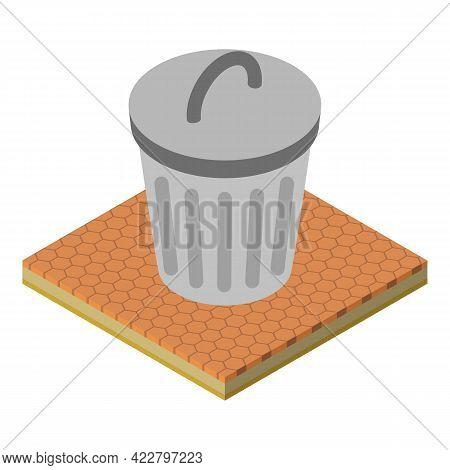 Metal Trashcan Icon. Isometric Illustration Of Metal Trashcan Vector Icon For Web