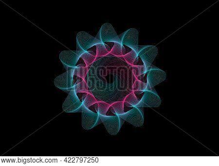 Geometric Whirls Design, Swirling Style Flower. Geometric Shape, Design Element With Inward Rotation