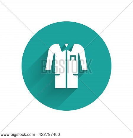 White Laboratory Uniform Icon Isolated With Long Shadow. Gown For Pharmaceutical Research Workers. M