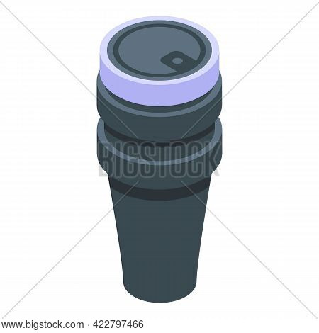 Home Thermo Cup Icon. Isometric Of Home Thermo Cup Vector Icon For Web Design Isolated On White Back