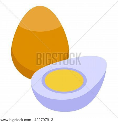 Vitamin D Boiled Eggs Icon. Isometric Of Vitamin D Boiled Eggs Vector Icon For Web Design Isolated O