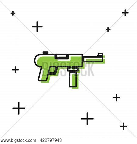 Black Submachine Gun M3, Grease Gun Icon Isolated On White Background. Vector