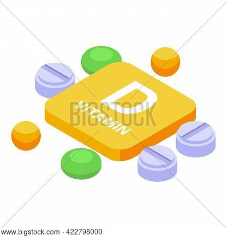 Vitamin D Pills Icon. Isometric Of Vitamin D Pills Vector Icon For Web Design Isolated On White Back