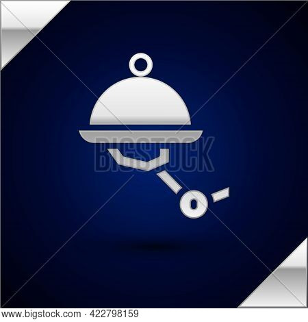 Silver Waiter Robot With Covered Plate Icon Isolated On Dark Blue Background. Artificial Intelligenc