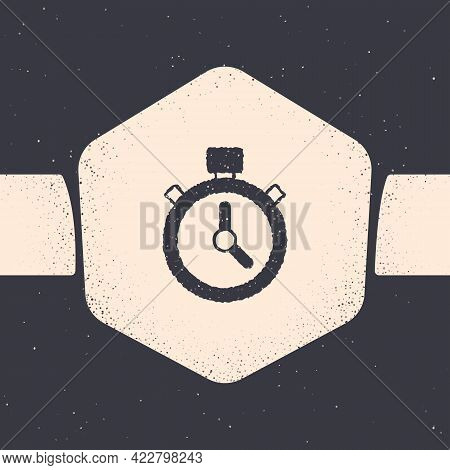 Grunge Stopwatch Icon Isolated On Grey Background. Time Timer Sign. Chronometer Sign. Monochrome Vin