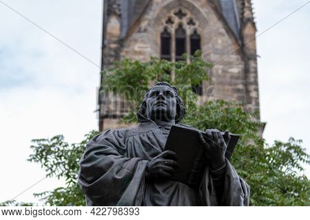 Luther Monument In Front Of The Kaufmannskirche In Erfurt, Thuringia