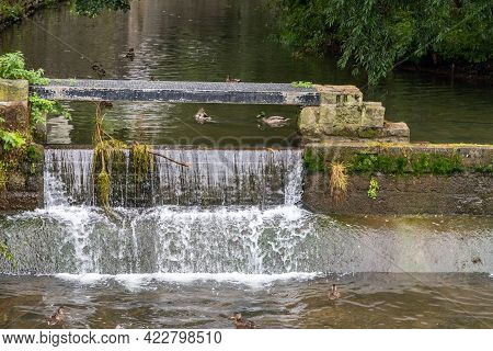 Weir With Waterfall On The River Gera In Erfurt, Thuringia