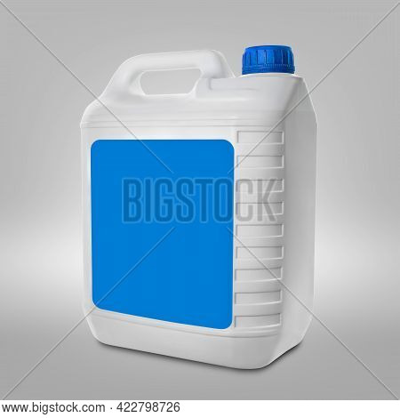 Plastic Canister On A Gray Background. Blank White Canister With Empty Light Blue Label And Light Bl