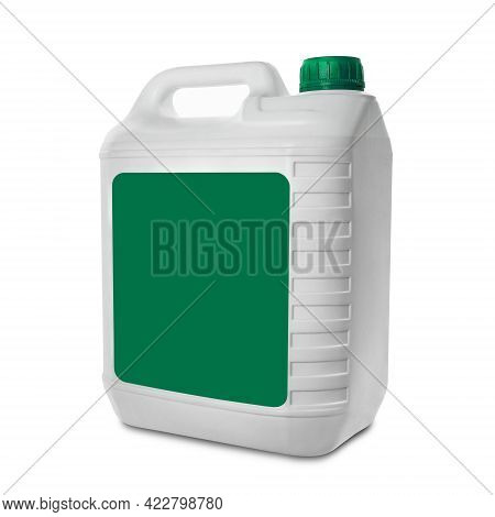 Plastic Canister Isolated On White Background. White Canister With Blank Green Label And Green Cap.