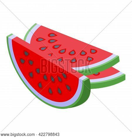 Watermelon Pieces Icon. Isometric Of Watermelon Pieces Vector Icon For Web Design Isolated On White