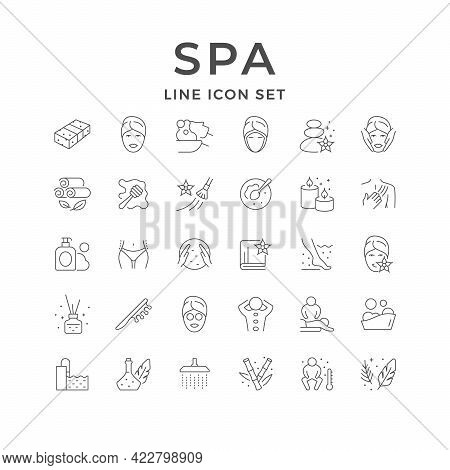 Set Line Icons Of Spa Isolated On White