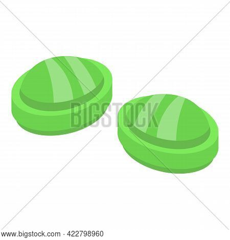 Mint Cough Drops Icon. Isometric Of Mint Cough Drops Vector Icon For Web Design Isolated On White Ba