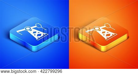 Isometric Oil Pump Or Pump Jack Icon Isolated On Blue And Orange Background. Oil Rig. Square Button.