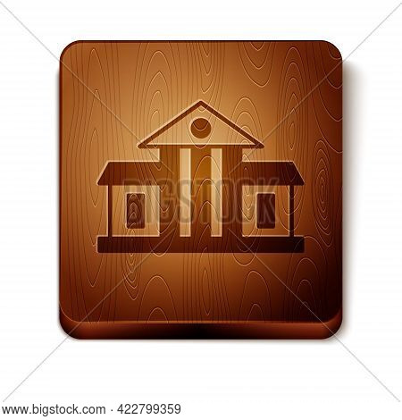 Brown White House Icon Isolated On White Background. Washington Dc. Wooden Square Button. Vector