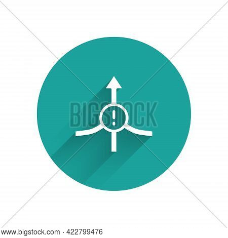 White Arrow Icon Isolated With Long Shadow Background. Direction Arrowhead Symbol. Navigation Pointe