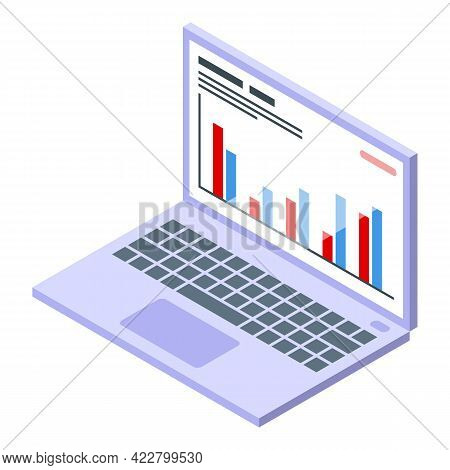 Ranking Laptop Icon. Isometric Of Ranking Laptop Vector Icon For Web Design Isolated On White Backgr