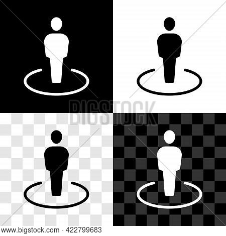 Set Map Marker With A Silhouette Of A Person Icon Isolated On Black And White, Transparent Backgroun