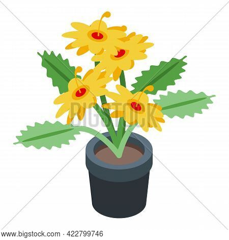 Flower Pot Icon. Isometric Of Flower Pot Vector Icon For Web Design Isolated On White Background